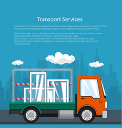Poster of small truck transports windows vector