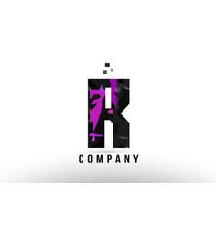Purple black alphabet letter r logo design vector