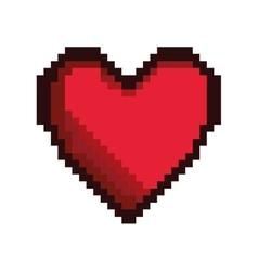 Red heart pixel figure vector
