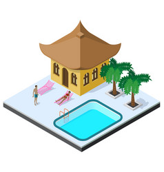 Scene of rest in isometric view with country vector