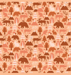 seamless pattern with cute cartoon elks deers vector image