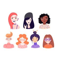 Set cute cartoon girl portraits isolated vector