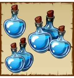 Set of flasks with blue potion vector image