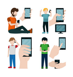 Set of mens and smartphone icons vector
