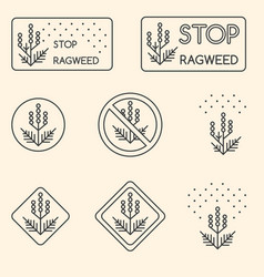 set of minimalist linear signs about ragweed vector image