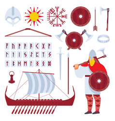 set with viking character and medieval history vector image