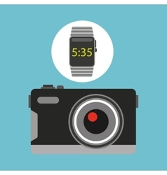 Smart watch technology with photographic camera vector