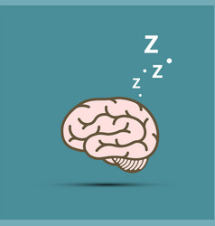 snoring human brain flat graphics style vector image
