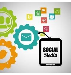Socila media mobile device team work vector