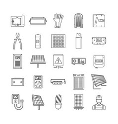 Solar energy equipment icons set outline style vector