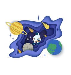 Space journey in paper art vector