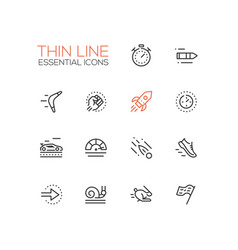 Speed - modern single thin line icons set vector