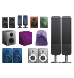 Stereo sound system icons set cartoon style vector