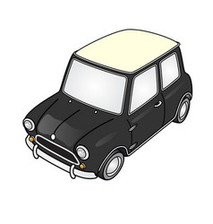 Super deformed mini car vector