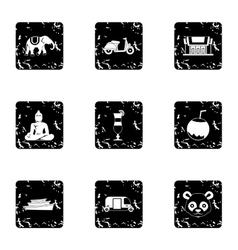 Thailand icons set grunge style vector