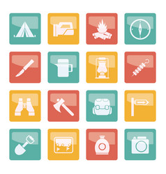 tourism and hiking icons over colored background vector image