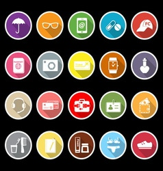 Travel luggage preparation flat icons with long vector image