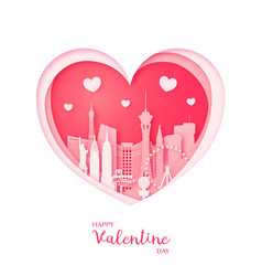 valentines card paper cut heart and las vegas vector image