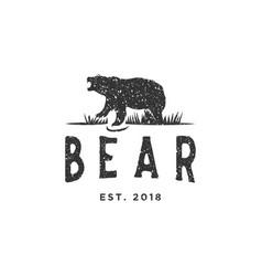Vintage bear logo design inspiration with grunge vector