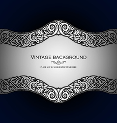 Vintage style blue ornamental background vector