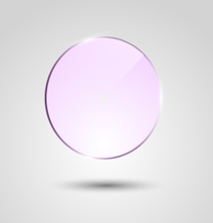 Violet transparent glass circle banner vector image