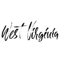 West virginia modern dry brush lettering retro vector