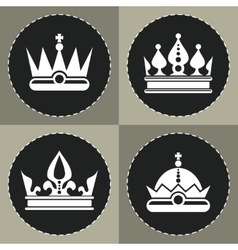 White crown icons on black background for chess vector image