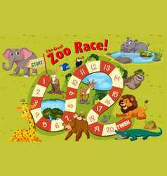 wild animals board game template vector image