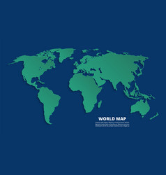 world 3d map earth green map on blue background vector image