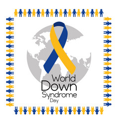 World down syndrome day frame make people holding vector