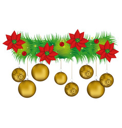 Wreath with christmas flowers and golden garlands vector