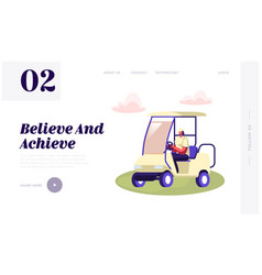 Young woman driving cart on golf course vector