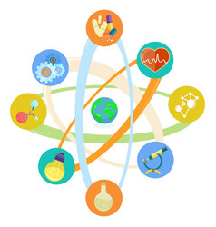 science themed icons placed in atomic model set vector image
