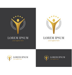 abstract golden logo with human figure and stars vector image vector image
