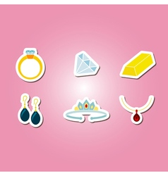 color set with jewelry icons vector image vector image