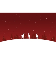 Deer on the hill Christmas winter of silhouettes vector image vector image