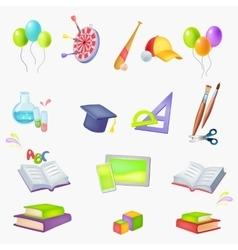 icons School theme vector image