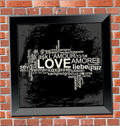 love frame on wall brick vector image vector image