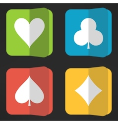 Bright playing cards suits icons set in clean vector