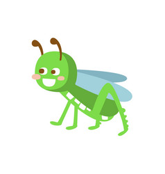 cartoon smiling grasshopper colorful character vector image