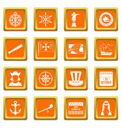 Columbus day icons set orange vector