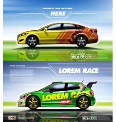 digital yellow and red sedan vector image vector image