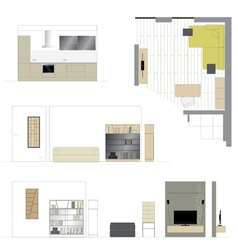 Flat projection furniture Set vector image vector image