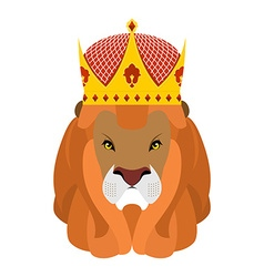 Lion King and crown Head of a predator with shaggy vector image vector image