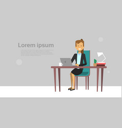 modern business woman working on laptop computer vector image