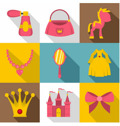 princess things icon set flat style vector image