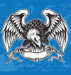 Detailed Hand Drawn Eagle Holding Scroll Vect vector image vector image