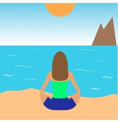 girl practicing yoga on the beach vector image