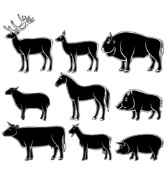 Set of monochrome wild and domestic animals vector image