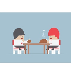 Two businessmen sitting at dinning table with big vector image vector image